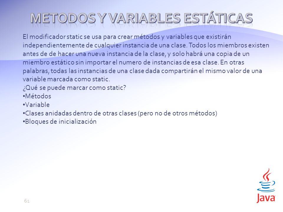 Metodos y variables estáticas