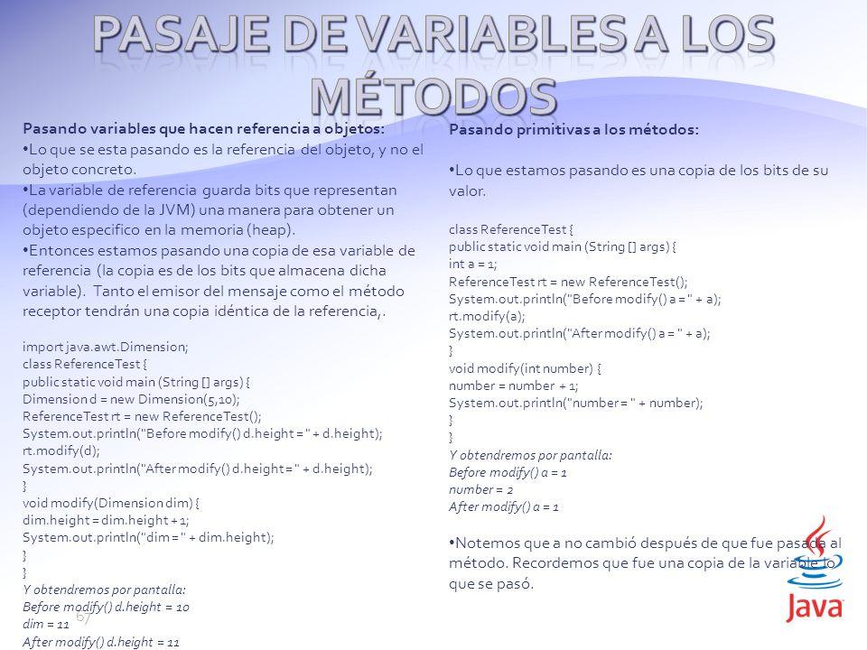 Pasaje de variables a los métodos