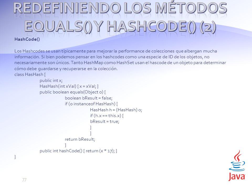 Redefiniendo los métodos equals() y hashCode() (2)