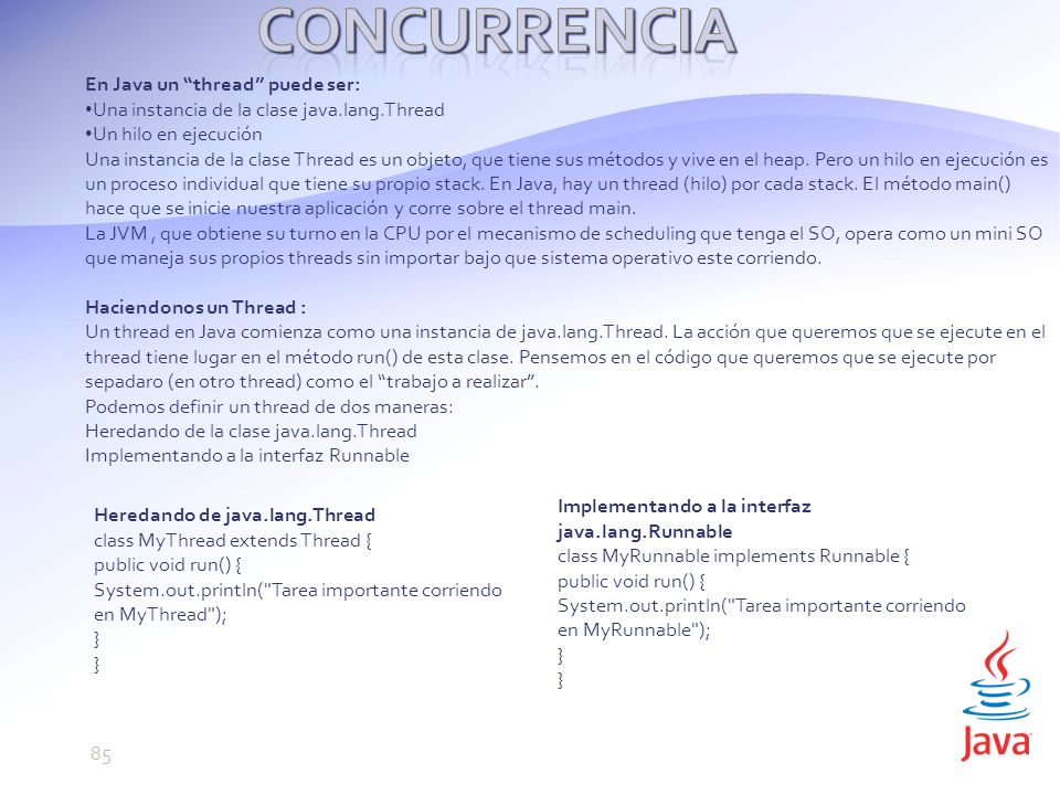 Concurrencia En Java un thread puede ser: