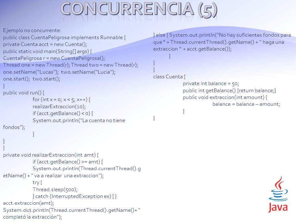 Concurrencia (5) Ejemplo no concurrente: