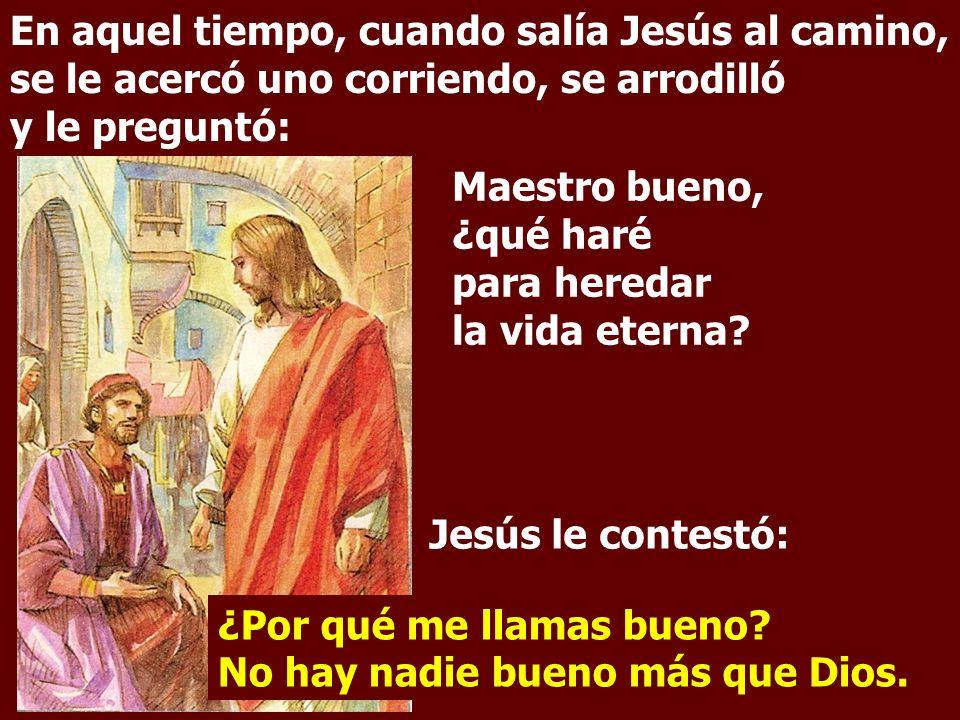 En aquel tiempo, cuando salía Jesús al camino, se le acercó uno corriendo, se arrodilló y le preguntó: