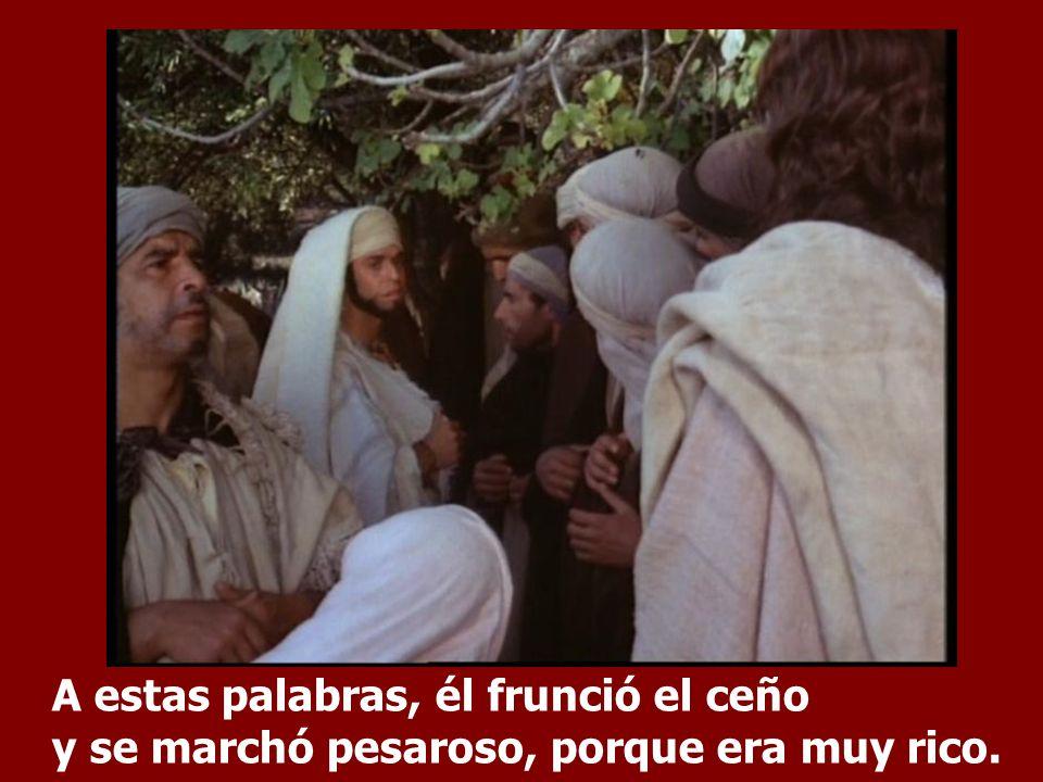 A estas palabras, él frunció el ceño y se marchó pesaroso, porque era muy rico.