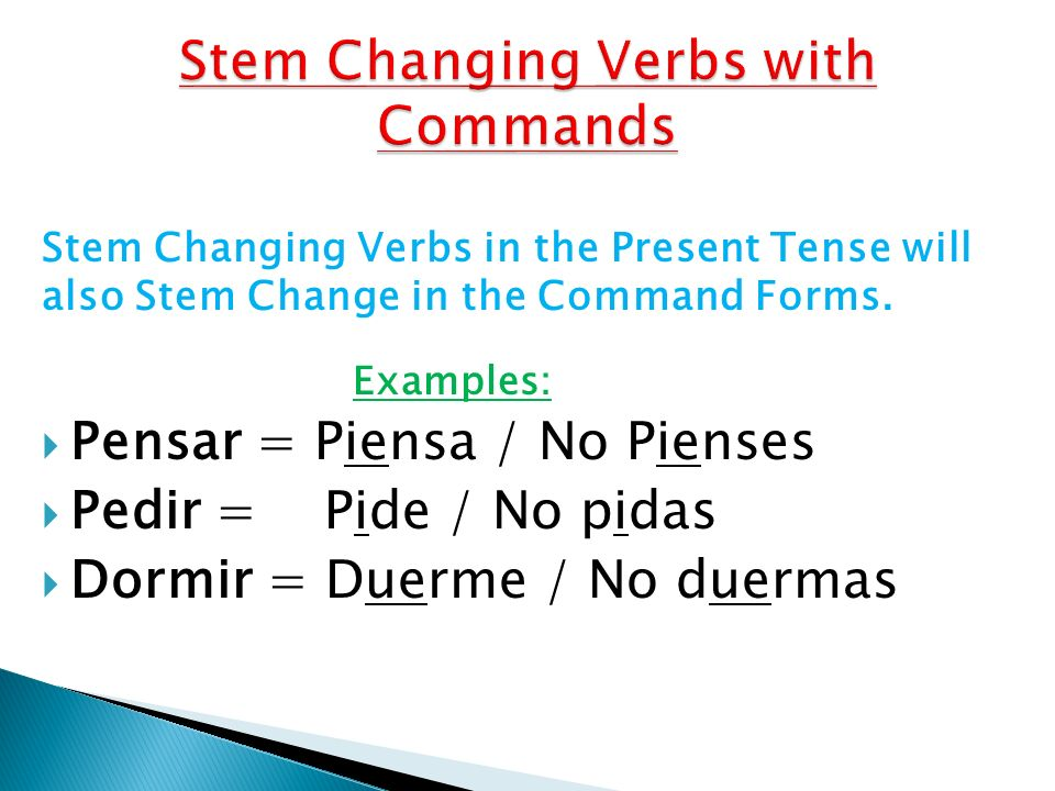Stem Changing Verbs with Commands
