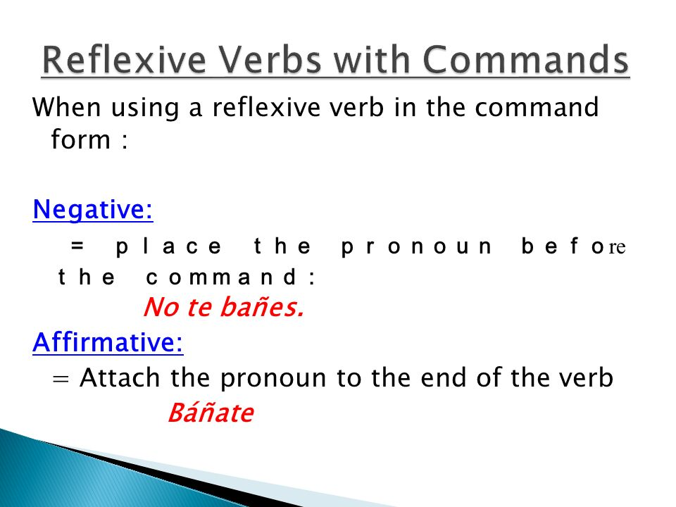 Reflexive Verbs with Commands