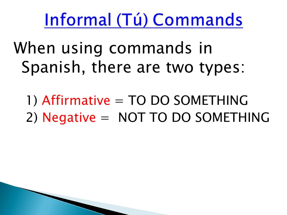 Informal (Tú) Commands