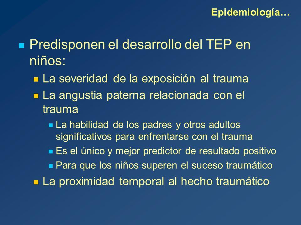 Predisponen el desarrollo del TEP en niños: