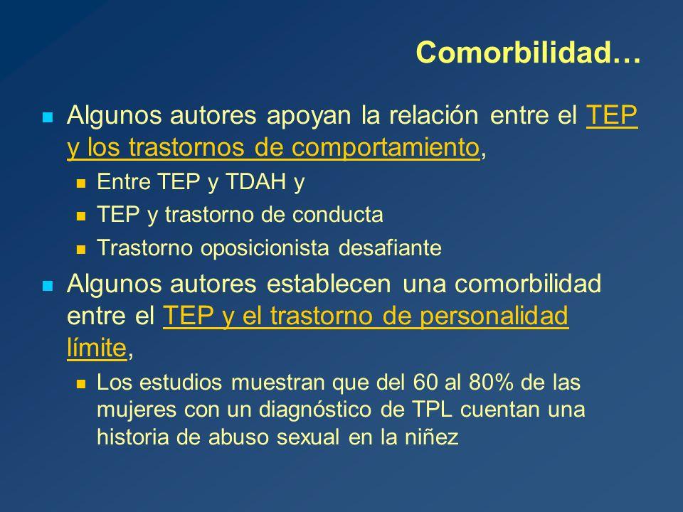 Comorbilidad… Algunos autores apoyan la relación entre el TEP y los trastornos de comportamiento, Entre TEP y TDAH y.