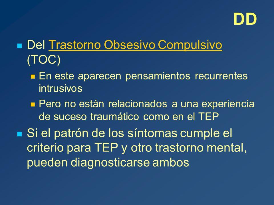 DD Del Trastorno Obsesivo Compulsivo (TOC)