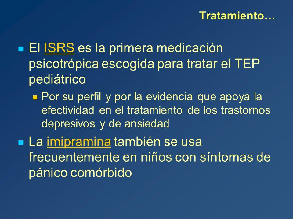 Tratamiento… El ISRS es la primera medicación psicotrópica escogida para tratar el TEP pediátrico.