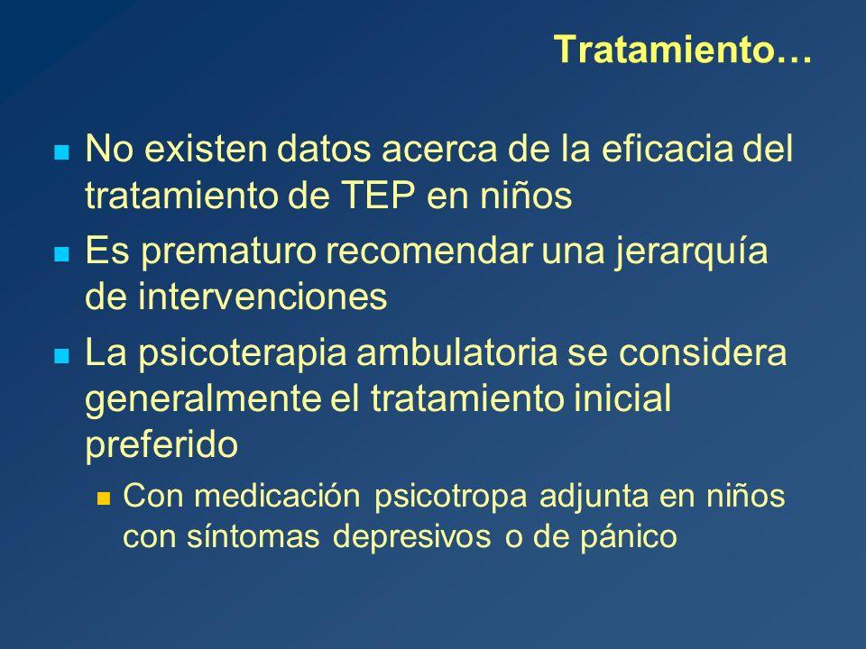 No existen datos acerca de la eficacia del tratamiento de TEP en niños