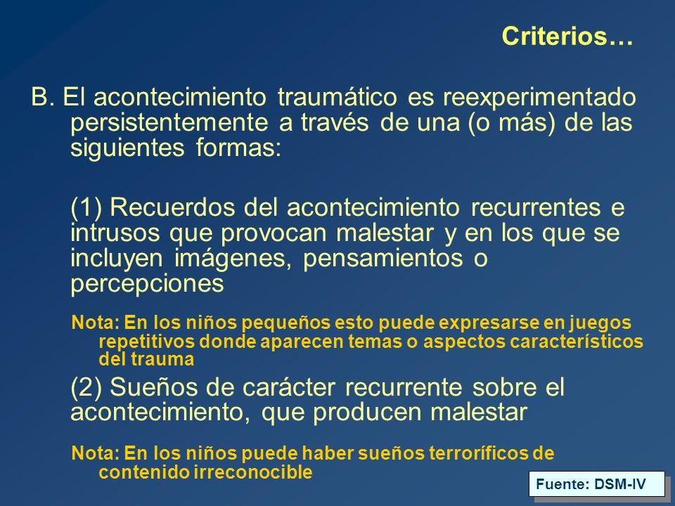 Criterios… B. El acontecimiento traumático es reexperimentado persistentemente a través de una (o más) de las siguientes formas: