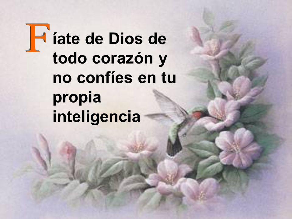íate de Dios de todo corazón y no confíes en tu propia inteligencia