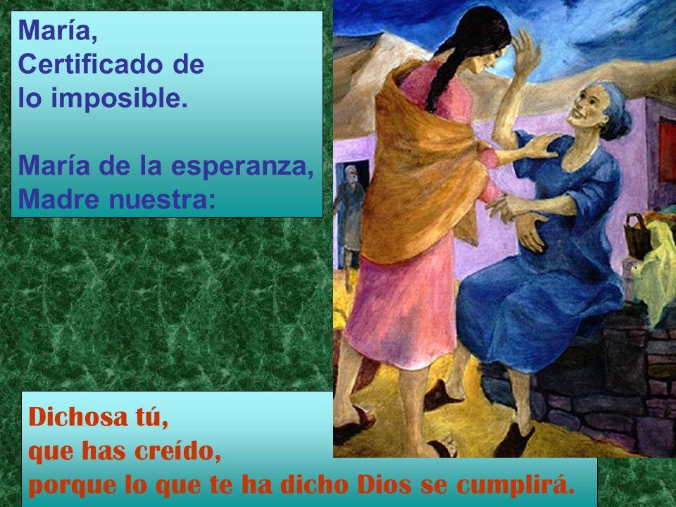 María, Certificado de. lo imposible. María de la esperanza, Madre nuestra: Dichosa tú, que has creído,