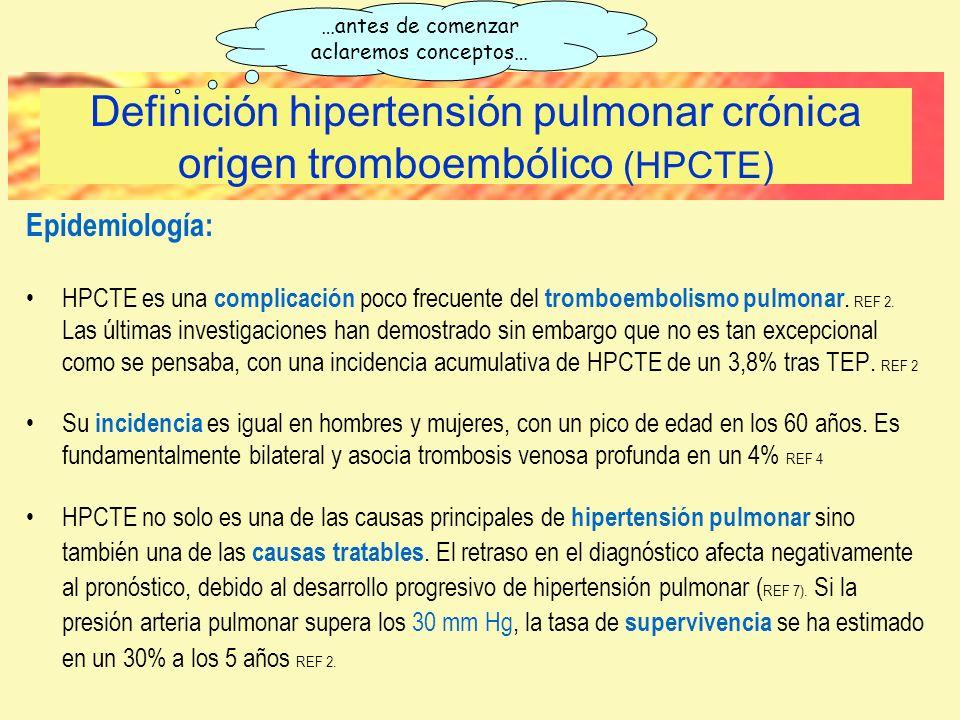 Definición hipertensión pulmonar crónica origen tromboembólico (HPCTE)
