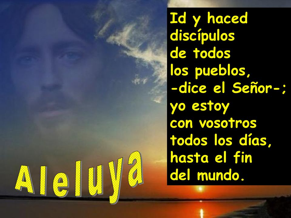 Id y haced discípulos de todos los pueblos, -dice el Señor-; yo estoy con vosotros todos los días, hasta el fin del mundo.