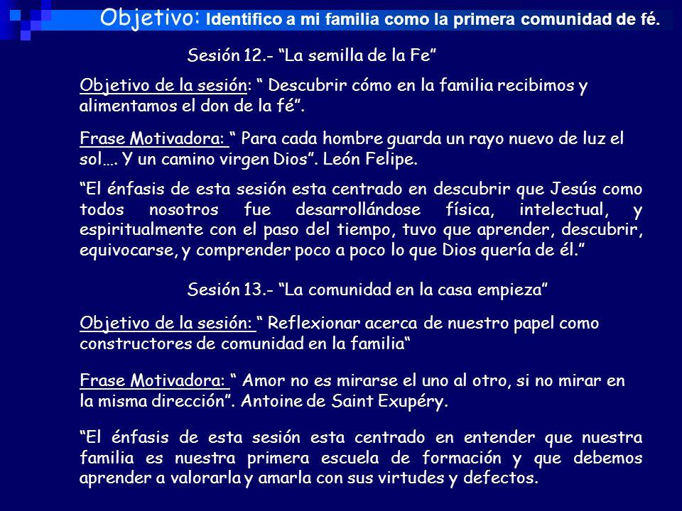 Objetivo: Identifico a mi familia como la primera comunidad de fé.