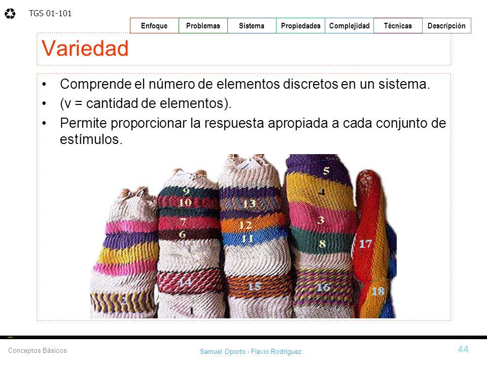 Variedad Comprende el número de elementos discretos en un sistema.