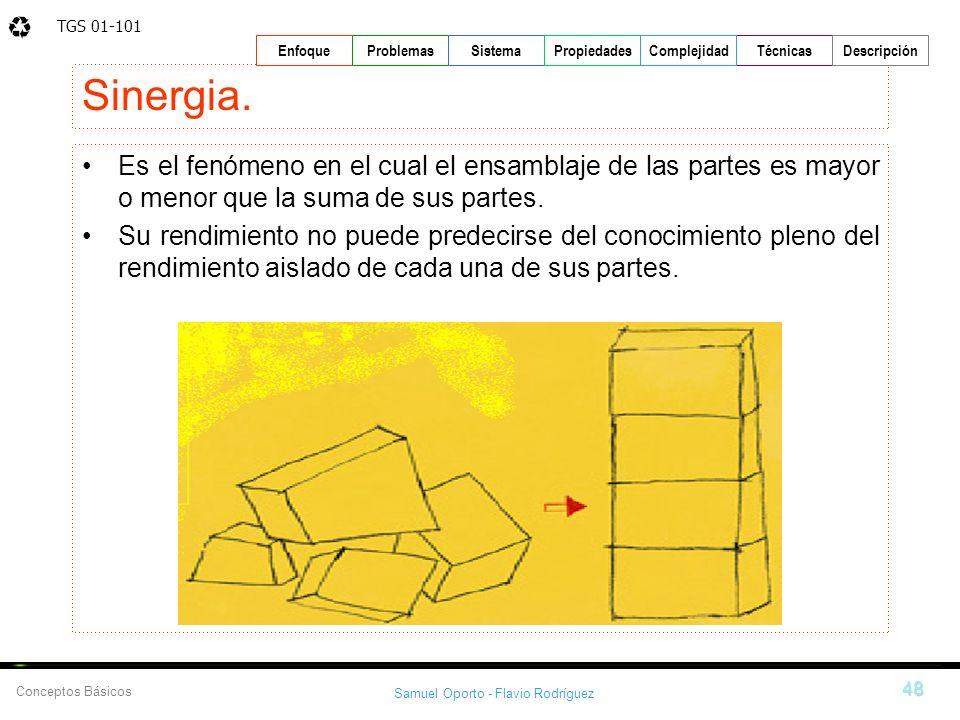 Sinergia. Es el fenómeno en el cual el ensamblaje de las partes es mayor o menor que la suma de sus partes.