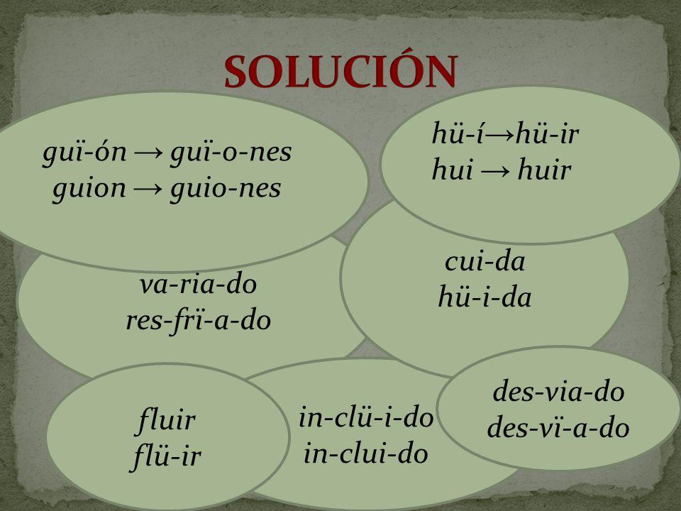 SOLUCIÓN hü-í→hü-ir guï-ón → guï-o-nes hui → huir guion → guio-nes