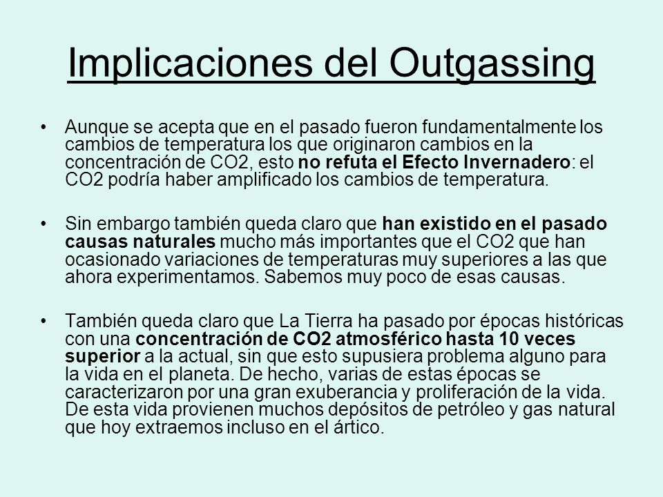 Implicaciones del Outgassing