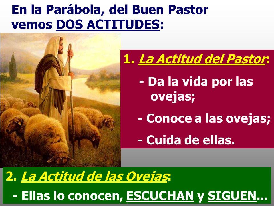 En la Parábola, del Buen Pastor vemos DOS ACTITUDES: