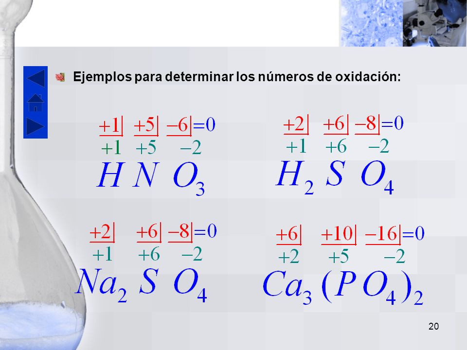 Ejemplos para determinar los números de oxidación: