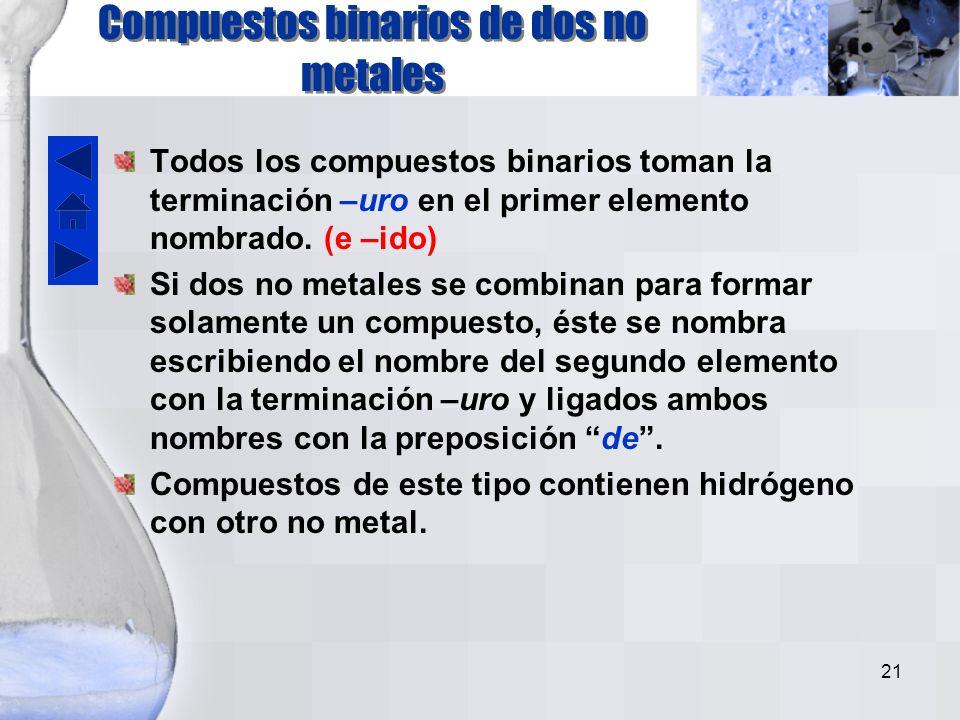 Compuestos binarios de dos no metales