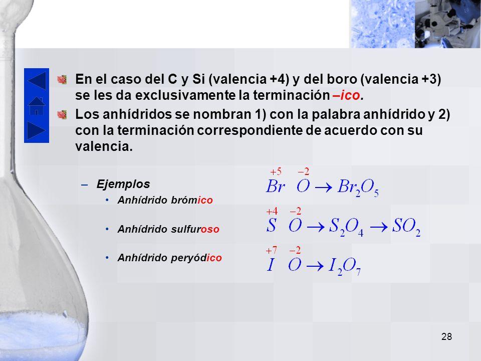 En el caso del C y Si (valencia +4) y del boro (valencia +3) se les da exclusivamente la terminación –ico.