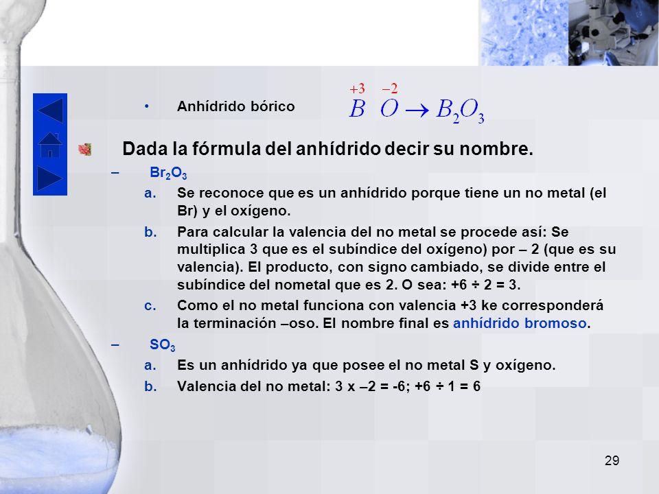 Dada la fórmula del anhídrido decir su nombre.