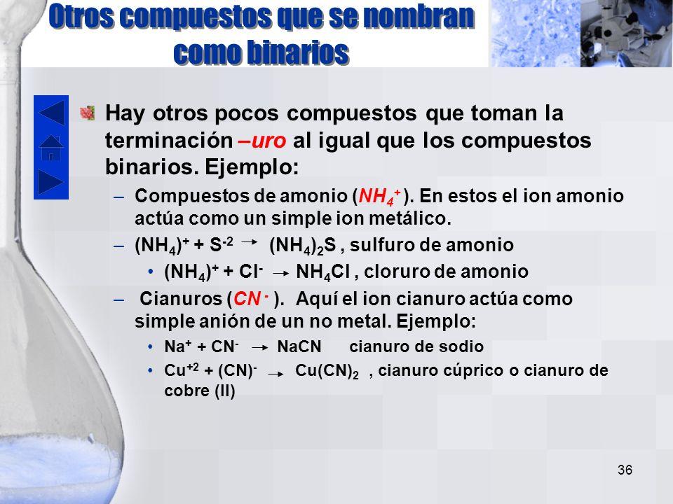 Otros compuestos que se nombran como binarios