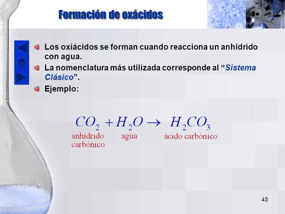 Formación de oxácidos Los oxiácidos se forman cuando reacciona un anhídrido con agua.
