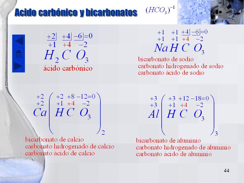 Acido carbónico y bicarbonatos