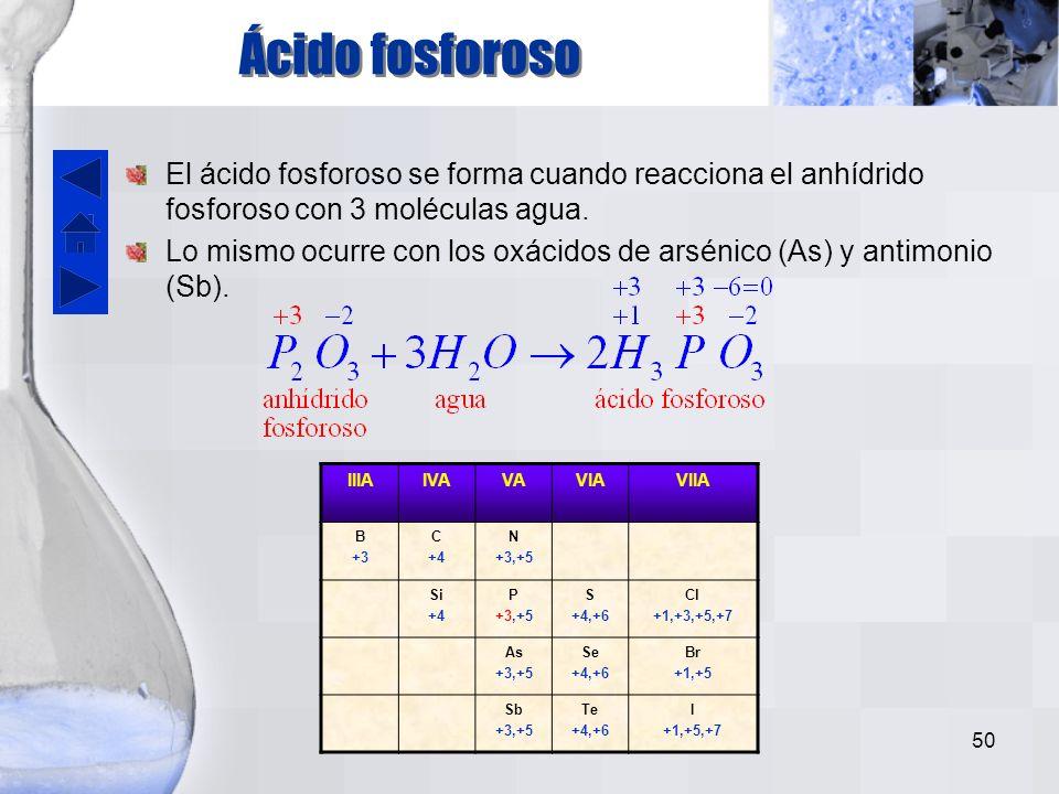 Ácido fosforoso El ácido fosforoso se forma cuando reacciona el anhídrido fosforoso con 3 moléculas agua.
