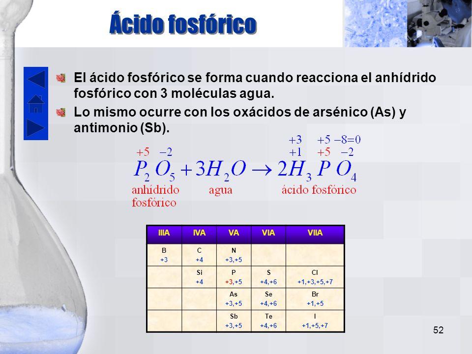 Ácido fosfórico El ácido fosfórico se forma cuando reacciona el anhídrido fosfórico con 3 moléculas agua.