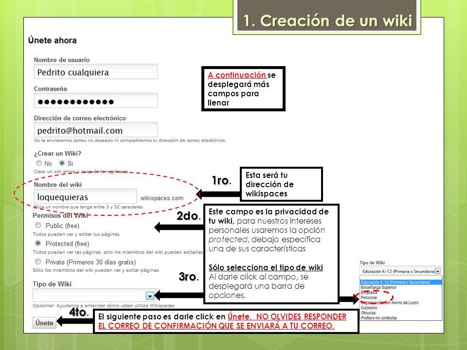 1. Creación de un wiki 1ro. 2do. 3ro. 4to.