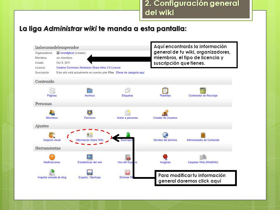 2. Configuración general del wiki