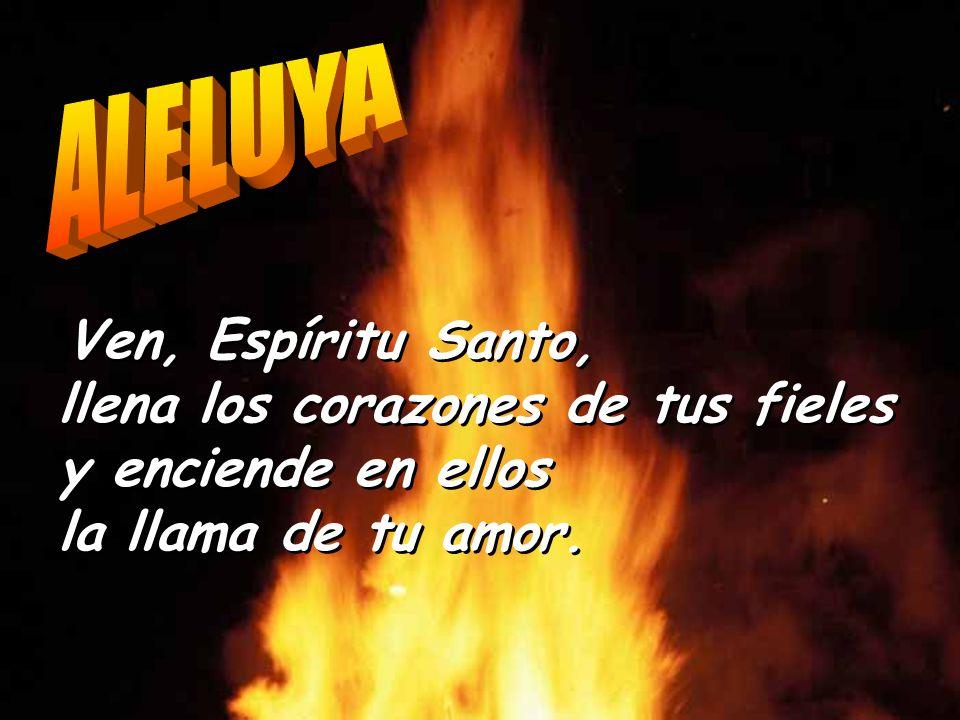 ALELUYA Ven, Espíritu Santo, llena los corazones de tus fieles y enciende en ellos la llama de tu amor.
