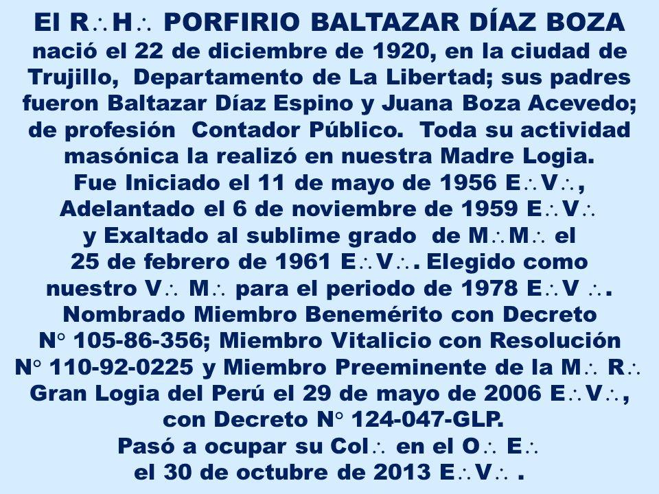 El RH PORFIRIO BALTAZAR DÍAZ BOZA
