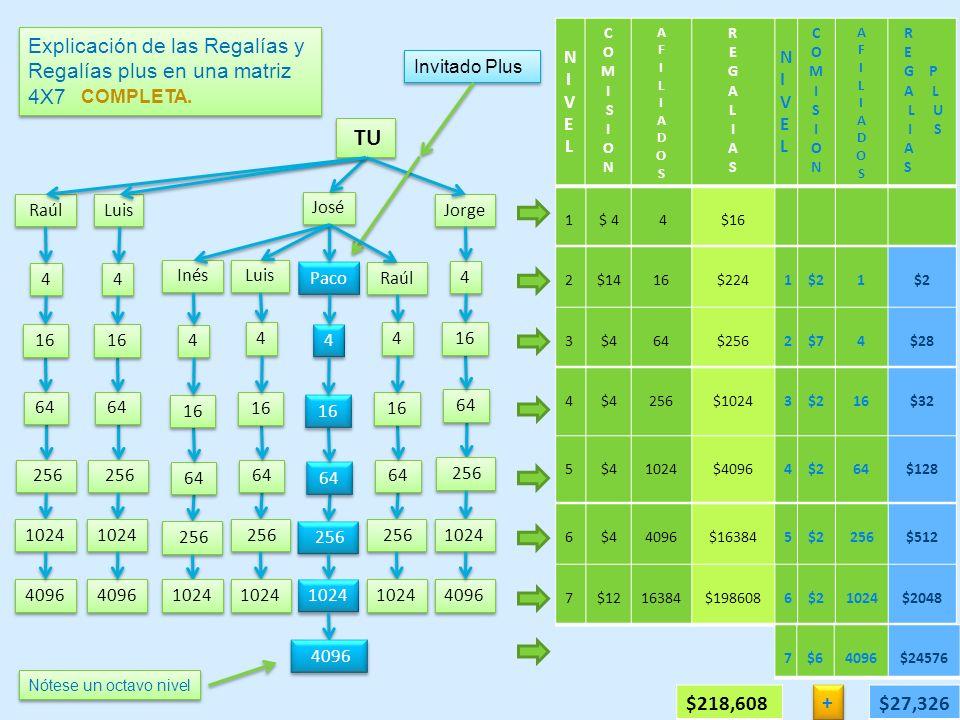 Explicación de las Regalías y Regalías plus en una matriz 4X7