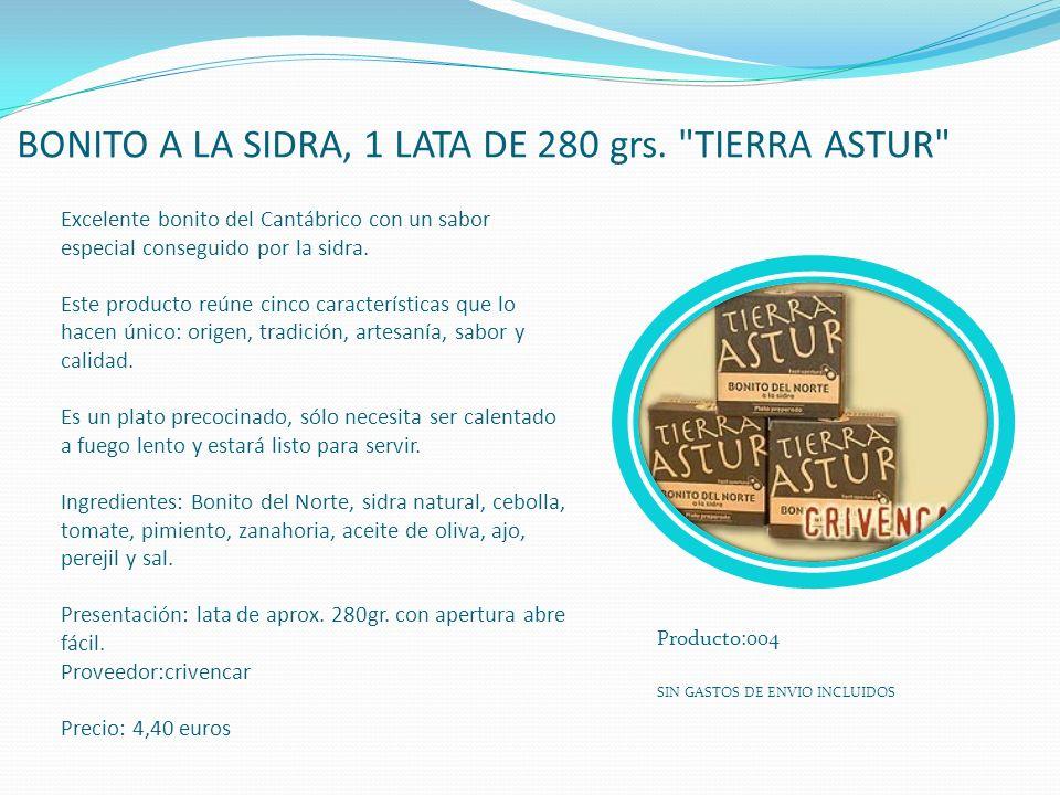 BONITO A LA SIDRA, 1 LATA DE 280 grs. TIERRA ASTUR