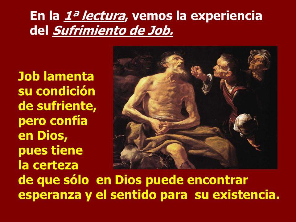 En la 1ª lectura, vemos la experiencia del Sufrimiento de Job.