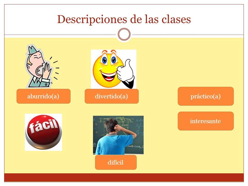 Descripciones de las clases