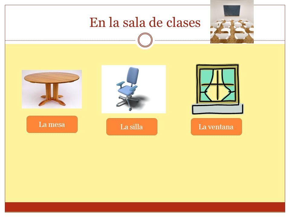 En la sala de clases La mesa La silla La ventana