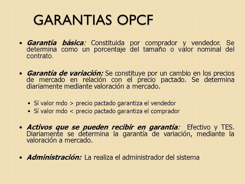 GARANTIAS OPCF Garantía básica: Constituida por comprador y vendedor. Se determina como un porcentaje del tamaño o valor nominal del contrato.