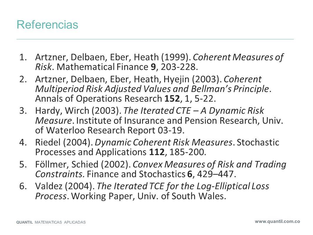 ReferenciasArtzner, Delbaen, Eber, Heath (1999). Coherent Measures of Risk. Mathematical Finance 9, 203-228.