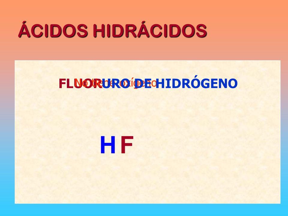ÁCIDOS HIDRÁCIDOS FLUOR No tiene oxígeno URO DE HIDRÓGENO H F
