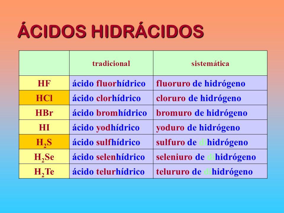 ÁCIDOS HIDRÁCIDOS HF ácido fluorhídrico fluoruro de hidrógeno HCl
