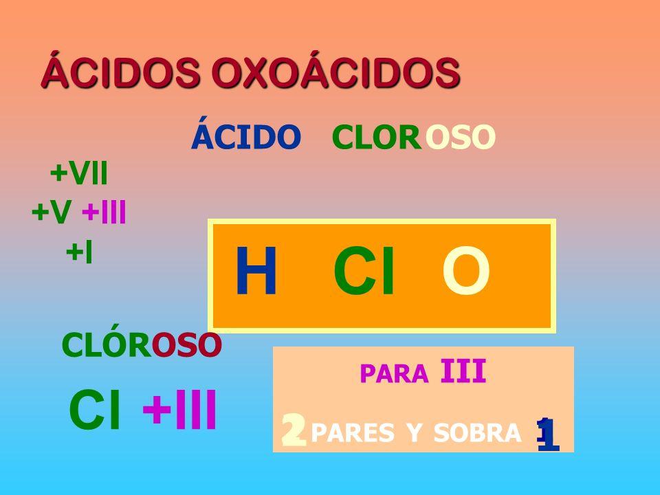 H Cl O 2 1 Cl +III ÁCIDOS OXOÁCIDOS ÁCIDO CLOR OSO +VII +V +III +I