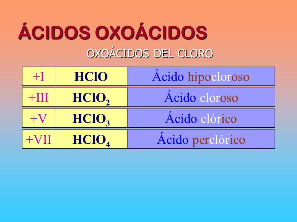 ÁCIDOS OXOÁCIDOS +I HClO Ácido hipocloroso +III HClO2 Ácido cloroso +V